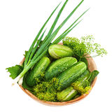 Cucumbers and vegetables and dill leaves still life in wooden bo Stock Images