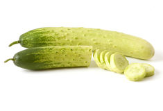 Cucumbers, whole and sliced Royalty Free Stock Photo