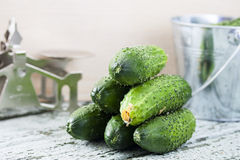Cucumbers on a wooden background Royalty Free Stock Photography