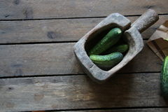Cucumbers on a wooden surface Stock Image
