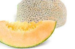 Cucumis melo or melon with half and seeds   on white (Ot Royalty Free Stock Image