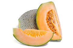 Cucumis melo or melon with half and seeds on white Other names Royalty Free Stock Photos