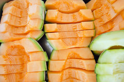 Cucumis melo or melon series in steel tray (Other names are cant Stock Images