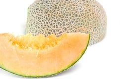 Cucumismelo of meloen met half en zaden op wit (Ot Royalty-vrije Stock Afbeelding