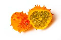 Cucumismetuliferus, horned melon eller kiwano Fotografering för Bildbyråer