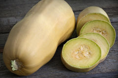 Cucurbit slices on wooden boards Royalty Free Stock Image