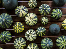 Cucurbita pepo still life green pumkins top view. Still life with variety of green and yellow pumpkins cucurbita pepo spread on wooden table viewed from top Royalty Free Stock Photos