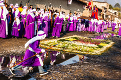 Cucuruchos in Holy Week procession, Antigua, Guatemala Stock Photos