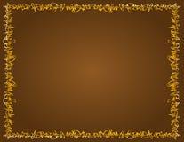 Cudacka Złota granica, Brown tło Obraz Stock