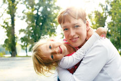 Cuddle, cuddle i love my mom Royalty Free Stock Photo