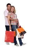 Cuddle with shopping Royalty Free Stock Photos