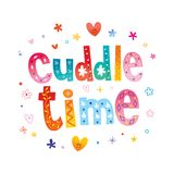 Cuddle time. Decorative lettering romantic design royalty free illustration