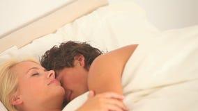 Cuddling cute couple stock video footage