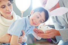 Cuddling pet. Smiling boy cuddling small bunny - his birthday gift stock photo