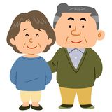 The image of a Cuddling senior couple stock illustration