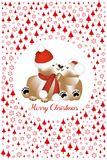 Cuddling teddy bears at Christmas framed by red trees and snowflakes. Cuddling teddy bears on Christmas framed by red snowflakes and trees and text Merry Royalty Free Stock Image