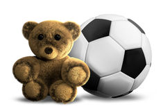 Cuddly fluffy fuzzy teddy bear 3D render and soccer ball. Graphic Royalty Free Stock Images