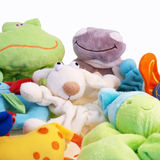 Cuddly toys. A collection of cuddly toys against a white background stock image