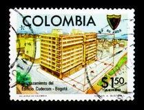 Cudecom hus, Bogota, 90 år av teknikanslutning av Colombia serie, circa 1977 Arkivfoton