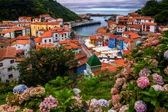 Cudillero, picturesque fishing village at sunset, Asturias, Spain. Cudillero, picturesque fishing village at sunset, Asturias Spain stock image