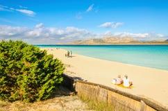 Cudowna plaża w Stintino, Sardinia, Włochy fotografia royalty free