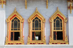 cudowni drzewni Thailand świątynni okno obrazy stock
