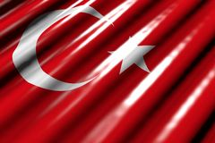 Cudowny błyszczący jakaś wakacje flagi 3d ilustracja - spojrzenia jak klingeryt flaga Turcja z wielkimi fałdami kłamają w kącie - ilustracji