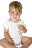 cudowny chłopiec jedzenie zdjęcie royalty free