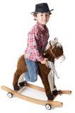 cudowny chłopiec kowbojów koń grać drewna Zdjęcie Royalty Free