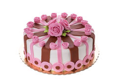Cudowny dekoracyjny tort kwitnie róże Zdjęcie Royalty Free