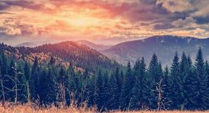 Cudowny jesień krajobraz majestatyczny, chmurzy chmury w sunligh zdjęcia royalty free