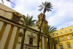 Cudowny kościół Cadiz, Andalusia w Hiszpania Campo Del Sura z wakacyjnym uczuciem obrazy stock