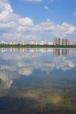 Cudowny krajobraz z jeziorem Zdjęcia Royalty Free