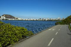 Cudowny miasto Cudowni miejsca w świacie Laguna i sąsiedztwo Ipanema w Rio De Janeiro, Brazylia fotografia royalty free