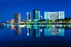 cudowny noc widok Kuching miasto Obrazy Royalty Free