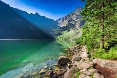 Cudowny półmrok przy stawem w Tatras, Polska obraz royalty free