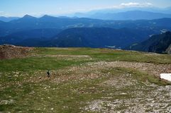 Cudowny widok alp plateau w dolomitach Obrazy Royalty Free