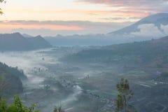 Cudowny wschód słońca przy Pinggan Kintamani Bali zdjęcia stock