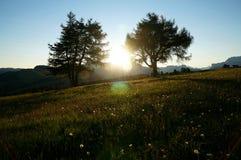 Cudowny wschód słońca w górach na alp Fotografia Royalty Free