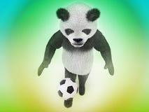 Cudowny zwierzęcy gracz piłki nożnej goni piłkę na zieleni i koloru żółtego gradientowego tła odgórnym widoku śliczny charakter b Zdjęcia Stock