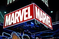 Cudu logo w Hamleys sklepie Cud komiczek grupa jest wydawcą Amerykańscy komiksy i powiązani środki Obraz Stock