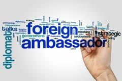 Cudzoziemska ambassador słowa chmura zdjęcie stock
