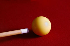 Cue. Pool cue and cue ball stock photo