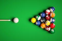 Cue aim billiard snooker pyramid on green table. 3d illustration Stock Image