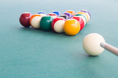 Cue aiming white ball to break snooker billards on table royalty free stock images