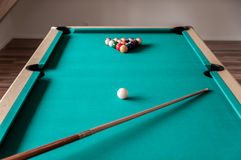 Cue And Balls On The Table Stock Photos