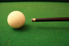 Cue Ball. Pool table white ball about to be hit for the break, dead center Royalty Free Stock Photos