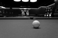 Cue Ball. Black and White Image of a Cue Ball on a Billiard Table Stock Photos