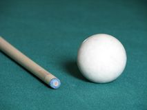 Cue Ball and Cue. Cue Ball and Pool Cue Stock Photography