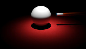 Cue Ball and Cue. White Cue ball on red snooker table Royalty Free Stock Images